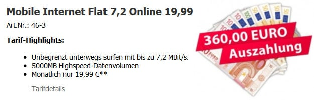 5 GB Datenflat Vodafone 360 EUR Auszahlung