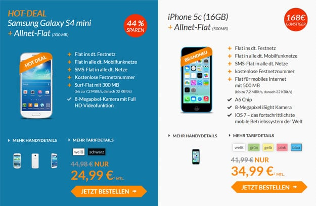 Blue-Deals - Galaxy S4 mini und iPhone 5c