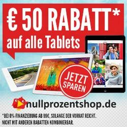 Nullprozentshop mit 50 Euro Rabatt bei Tablet und Finanzierung