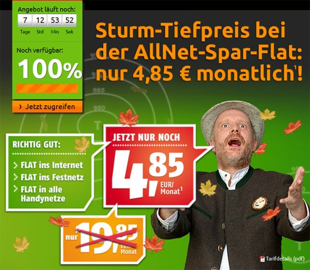 Crash-Tarife - Klarmobil Allnet Flat