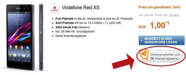 Vodafone RED XS mit Sony Xperia Z1