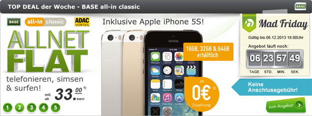 Mad Friday: BASE all-in mit iPhone 5s