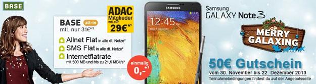 BASE all-in mit Samsung Galaxy Note 3 und 50 € Gutschein + ADAC-Vorteil