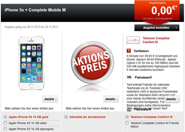 iPhone 5s und Telekom Complete Comfort M