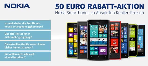 Nokia-Smartphones mit 50 € Rabatt bei notebooksbilliger
