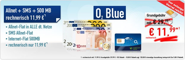 o2 Blue All-in M mit 120 € Auszahlung