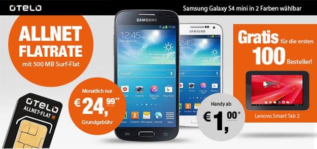 Otelo Allnet mit Galaxy S4 Mini und Lenovo Smart Tab II 7