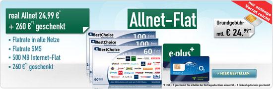 real Allnetflat E-Plus oder o2 mit 260-€-Einkaufsgutschein