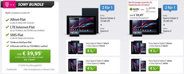 Sony Bundle Telekom Complete Comfort M mit Sony Xperia Tablet Z und Sony Xperia Z