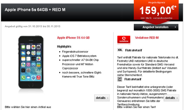 Vodafone Red M mit iPhone 5s 64GB