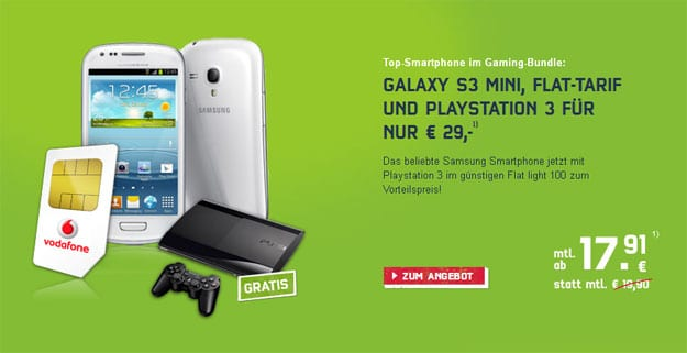 Vodafone 100 mit Galaxy S3 Mini und Playstation 3
