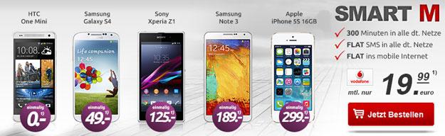 Vodafone Smart M mit Samsung Galaxy Note 3 u.a. bei Handytick