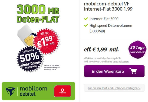 3-GB-Internet-Flat md 1,99 EUR
