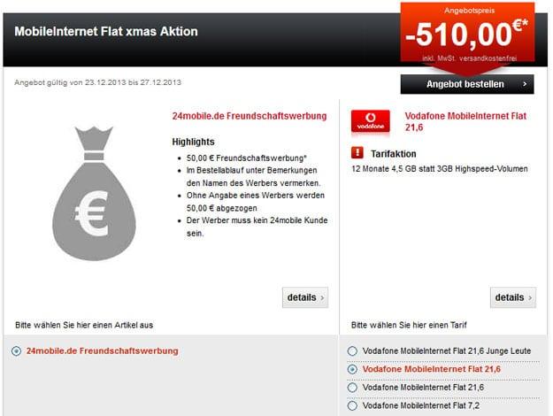 Datenflat Vodafone 510 EUR Auszahlung