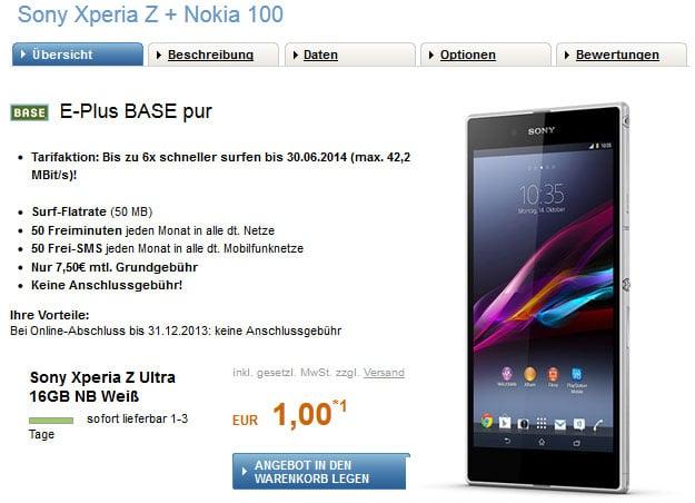 Sony Xperia Z Ultra Schubladenvertrag
