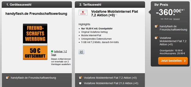 Vodafone Datenflat 410 EUR Auszahlung