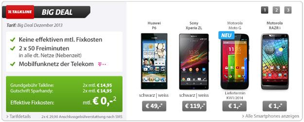 Big Deal bei Sparhandy: Sony Xperia ZL und Motorola RAZR i mit 200 € Gewinn