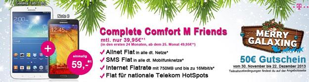 Samsung Galaxy Note 3 + Galaxy Gear oder Galaxy Tab 3 8.0 mit Telekom Complete Comfort M Friends