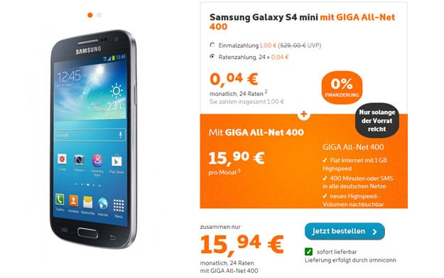 Samsung Galaxy S4 Mini mit simyo GIGA All-NET 400