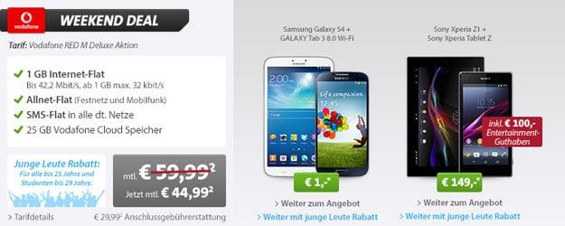 Vodafone RED M mit Samsung Galaxy S4 und Galaxy Tab 3 (8.0) oder Sony Xperia Z1 und Xperia Tablet Z