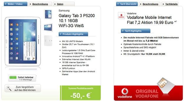 Samsung Galaxy Tab 3 10.1 mit Vodafone MobileInternet 7.2