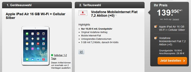 iPad Air Vodafone Datenflat