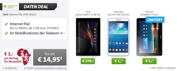 mobilcom-debitel Internet Flat 3000 im Telekom-Netz mit Tablet