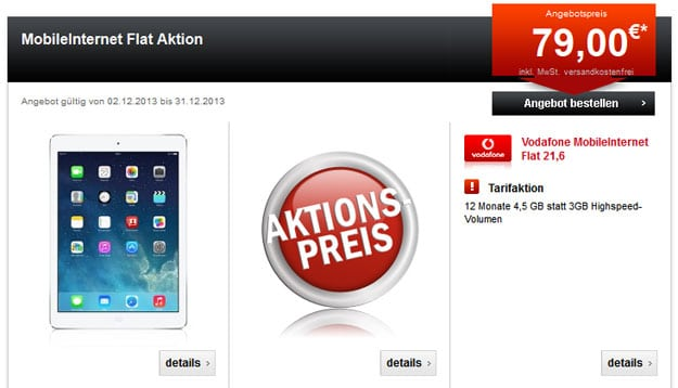 iPad Air mit Vodafone MobileInternet-Datentarif