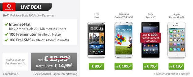 Livedeal bei Sparhandy mit HTC One oder Sony Xperia Z1