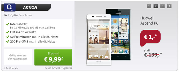 o2 Blue Basic mit dem Huawei Ascend P6
