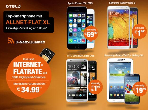 Otelo Allnet Flat XL mit iPhone 5s, Samsung Galaxy S4 u.a.