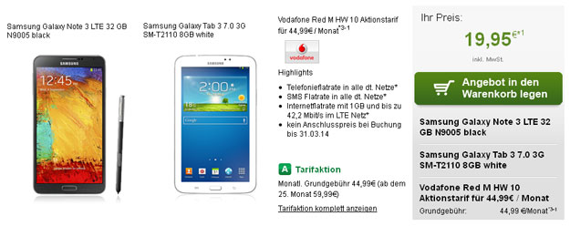 Vodafone RED M mit Samsung Galaxy Note 3 + Galaxy Tab 3 (7.0)