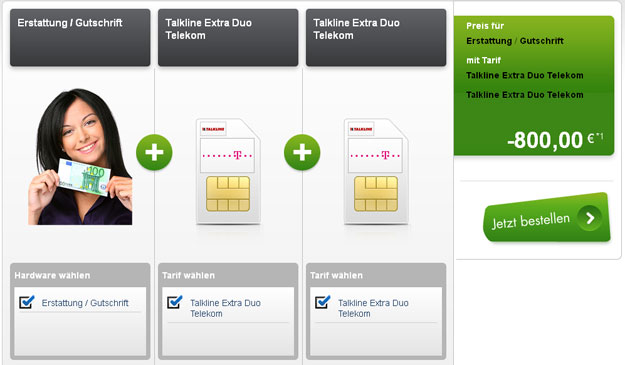 Talkline Extra Duo Telekom mit 800 Euro Auszahlung