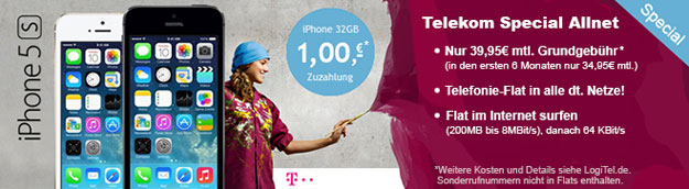 Telekom Special Allnet mit iPhone 5s 32GB