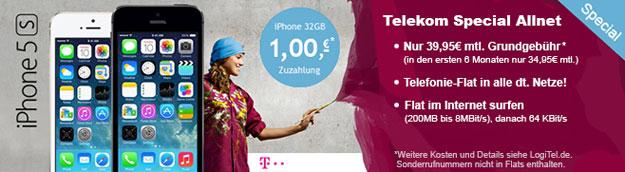 Telekom Special Allnet mit iPhone 5s 32GB