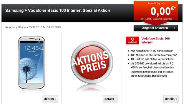 Vodafone Basic 100 bei 24mobile mit Samsung Galaxy, HTC One und iPhone