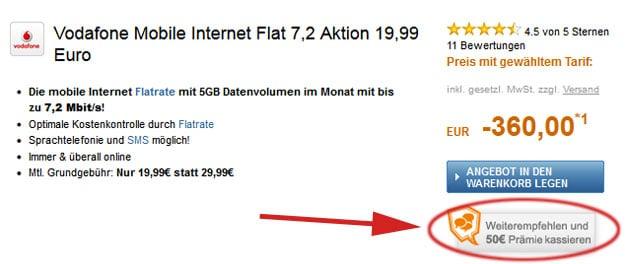 Vodafone MobileInternet 7,2 mit 360 € Auszahlung