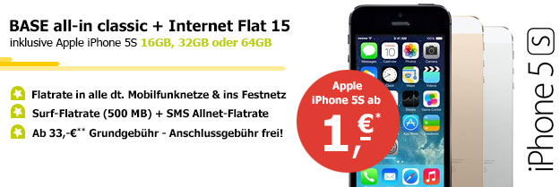 Allnet Flat BASE all-in mit iPhone 5s