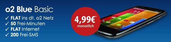Motorola Moto G + o2 Blue Basic = 4,99 EUR