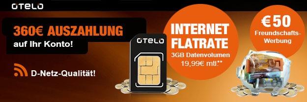 Otelo Internet-Flat 3 GB - 410 EUR Auszahlung