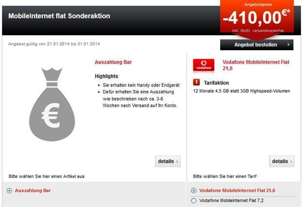 Vodafone MobileInternet-Flat - 410 EUR Auszahlung