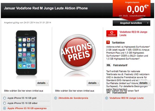 Vodafone Red M Junge Leute für 34,99 EUR iPhone 5s 24mobile