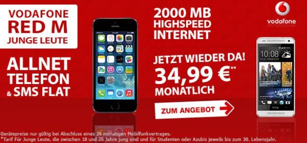 Vodafone Red M Junge Leute - 34,99 EUR mit iPhone 5s