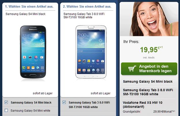 Vodafone Red XS - Samsung Galaxy S4 Mini + Galaxy Tab 3 8.0