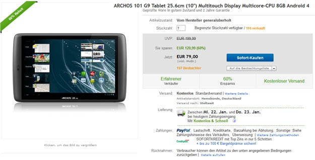ARCHOS 101 G9 Tablet auf eBay