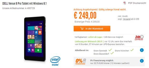 Dell Venue 8 Pro Tablet mit Windows 8.1 - mit Gutscheincode 50 € günstiger