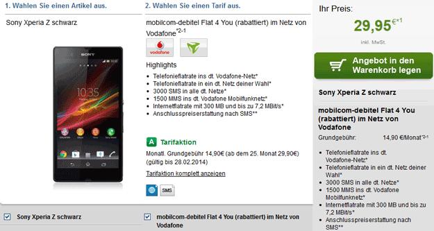 mobilcom-debitel Vodafone Flat 4 You mit Sony Xperia Z und Samsung Galaxy S4 Mini