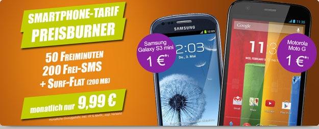 Handyflash Vodafone Smart M mit Samsung Galaxy S3 Mini und Motorola Moto G