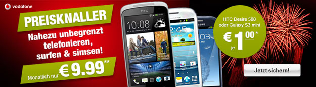 Vodafone Smart S mit HTC Desire 500 oder Samsung Galaxy S3 Mini
