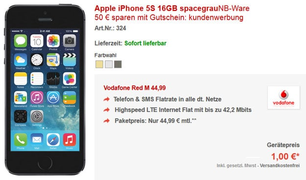 iPhone5s 16GB - Vodafone Red M - 50-EUR-Gutschein